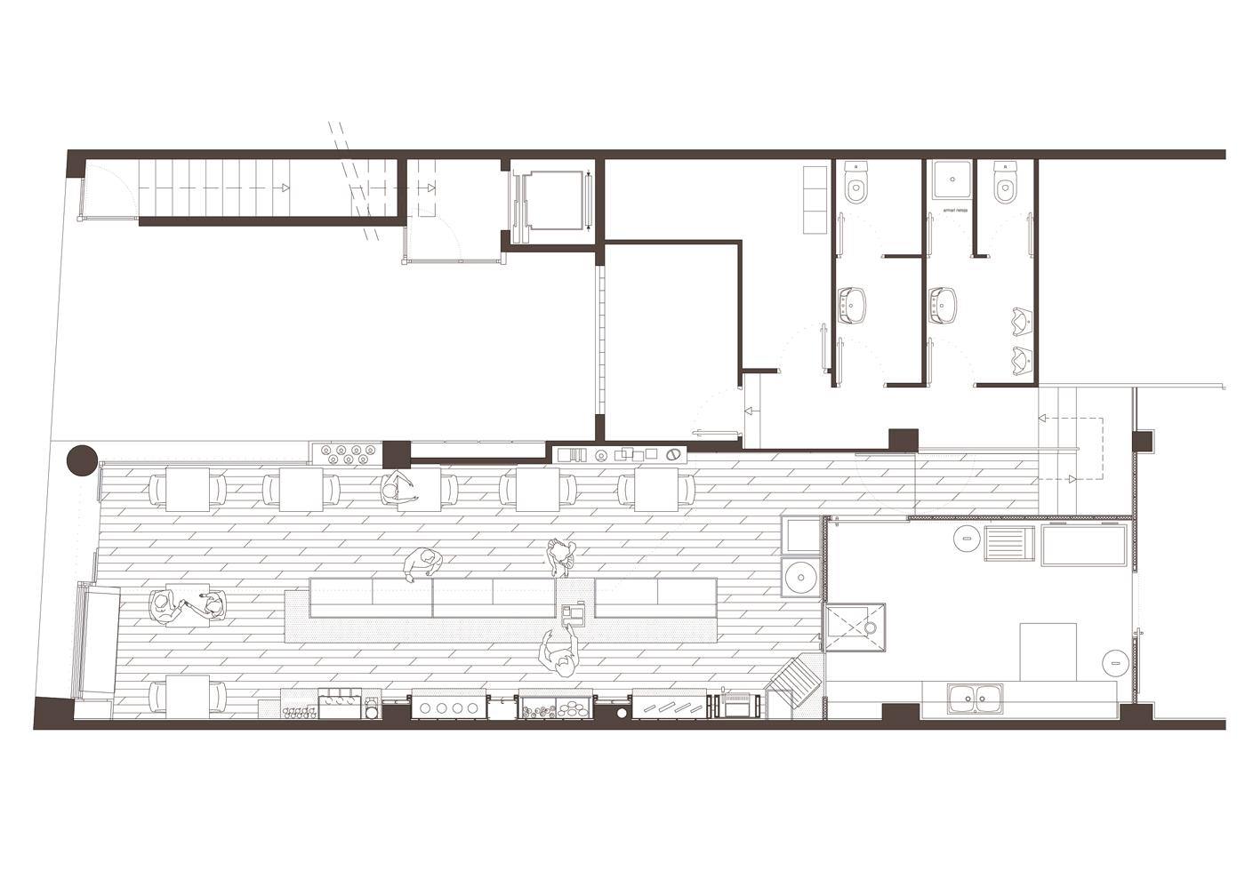 Planta. Projecte de reforma, interiorisme i disseny 3D: 2009 - Reforma interior de local / Fleca pastisseria Forn del Progrés a Terrassa