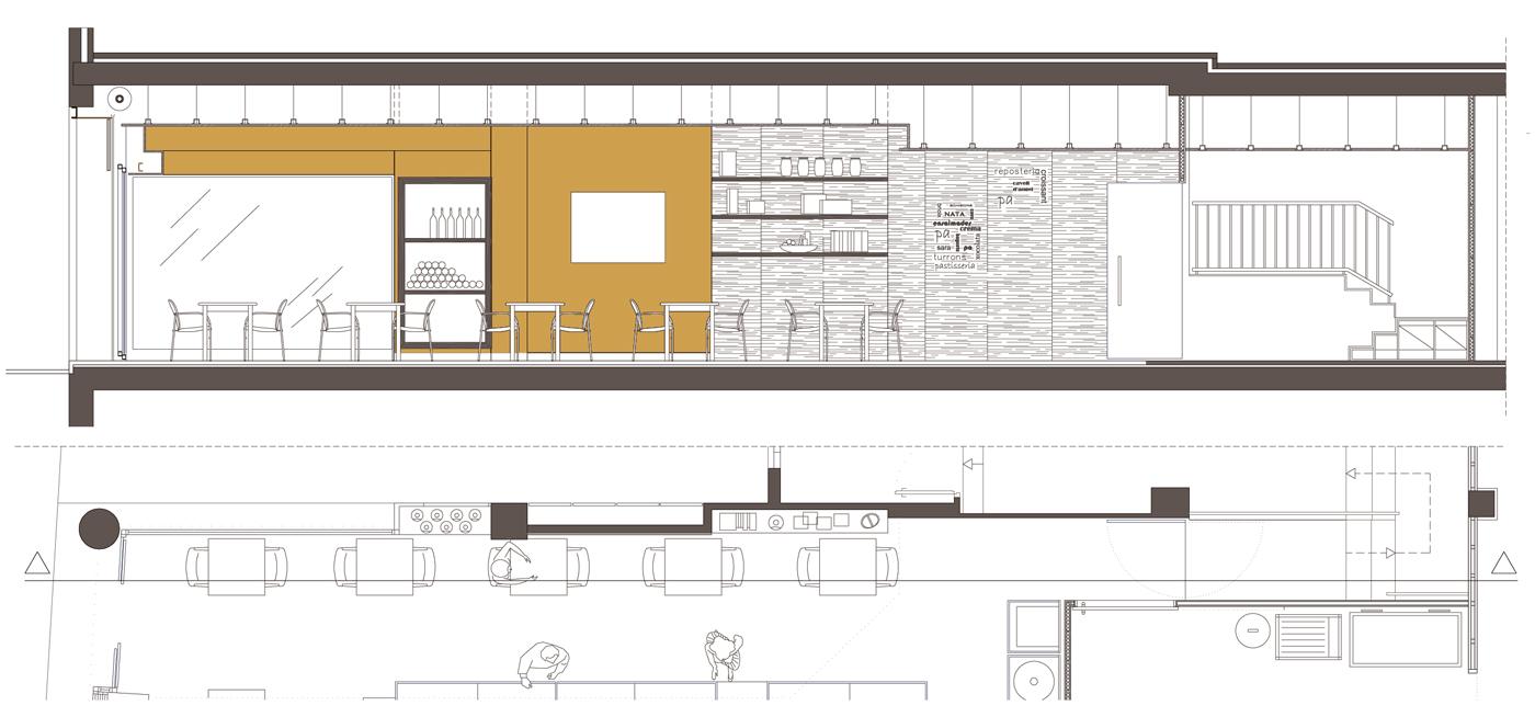 Secció longitudinal. Projecte de reforma, interiorisme i disseny 3D: 2009 - Reforma interior de local / Fleca pastisseria Forn del Progrés a Terrassa