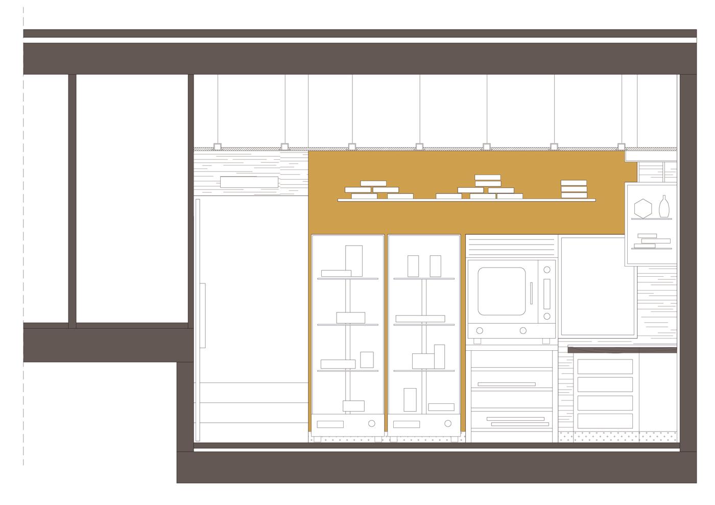 Secció transversal. Projecte de reforma, interiorisme i disseny 3D: 2009 - Reforma interior de local / Fleca pastisseria Forn del Progrés a Terrassa