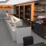 Vista 3D. Projecte de reforma, interiorisme i disseny 3D: 2009 - Reforma interior de local / Fleca pastisseria Forn del Progrés a Terrassa