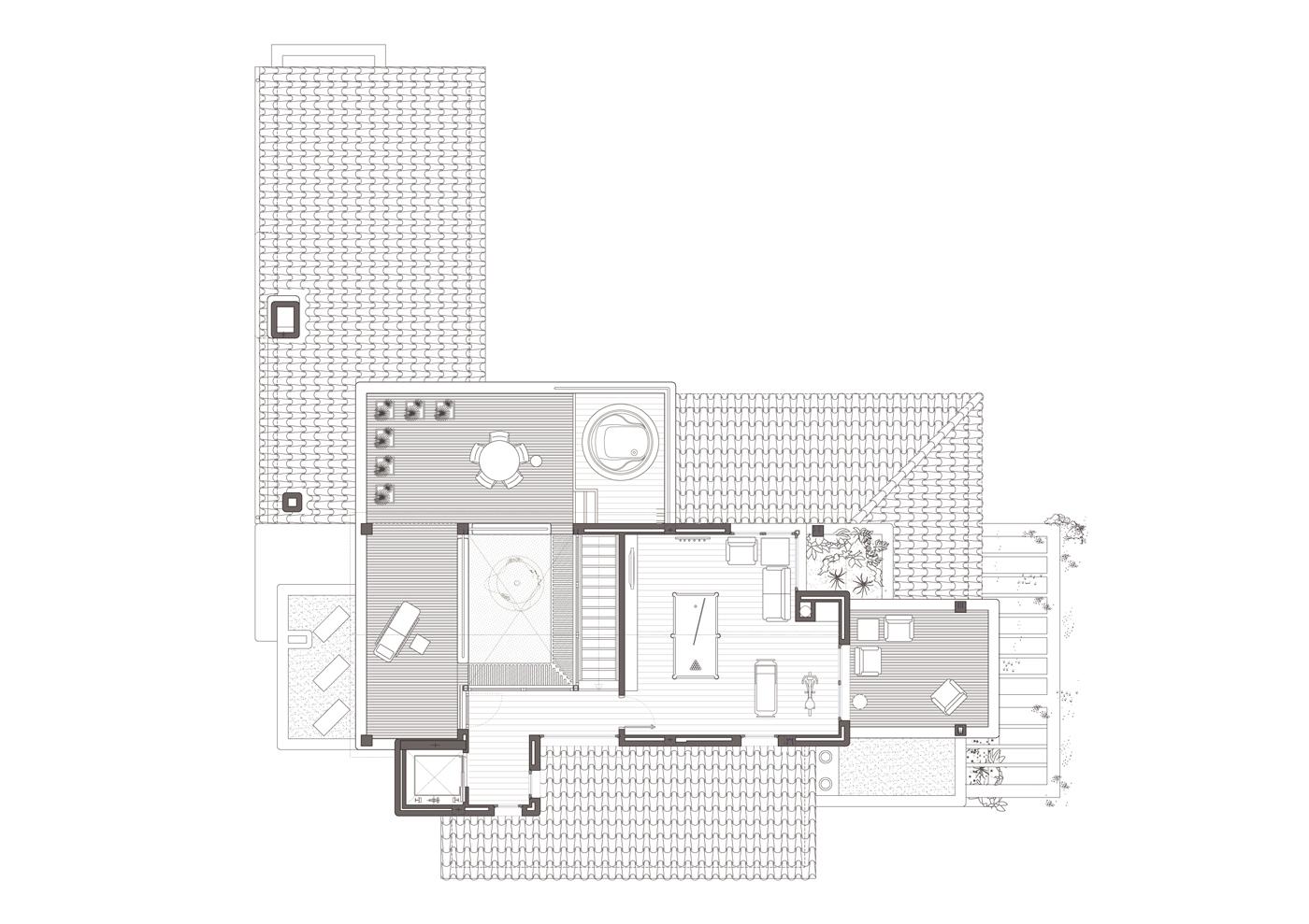 Planta segona. Projecte d'obra nova i disseny 3D: 2012 - Habitatge unifamiliar aïllat a Arenys de Mar