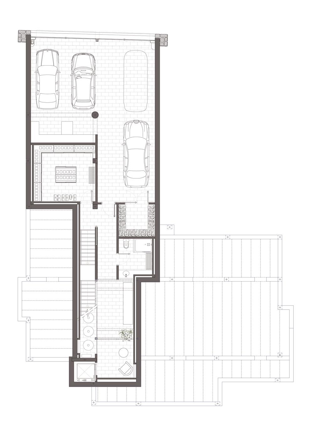 Planta soterrani. Projecte d'obra nova i disseny 3D: 2012 - Habitatge unifamiliar aïllat a Arenys de Mar
