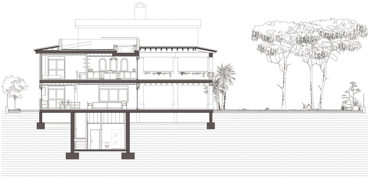 Secció longitudinal. Projecte d'obra nova i disseny 3D: 2012 - Habitatge unifamiliar aïllat a Arenys de Mar