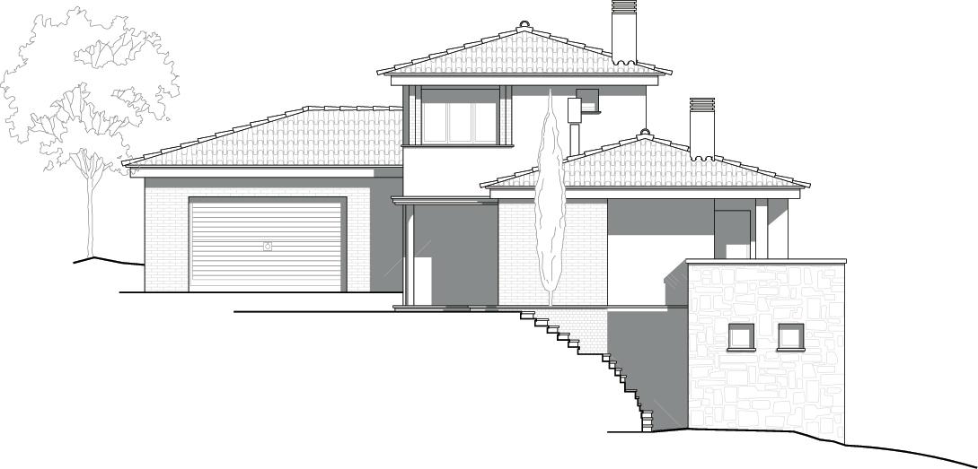 Façana nord. Projecte d'obra nova: 1993 - Habitatge unifamiliar aïllat a Matadepera