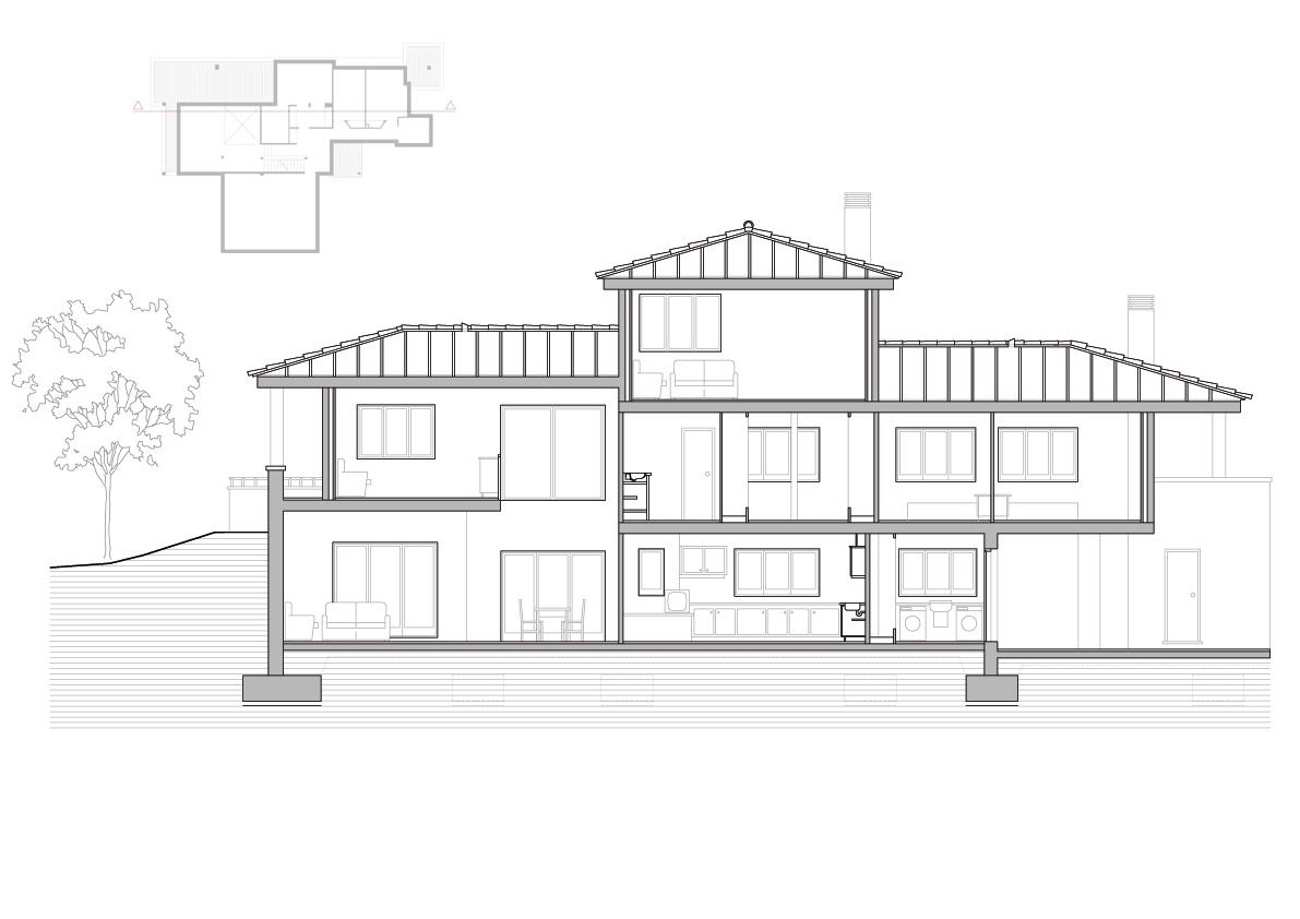 Secció longitudinal. Projecte d'obra nova: 1993 - Habitatge unifamiliar aïllat a Matadepera