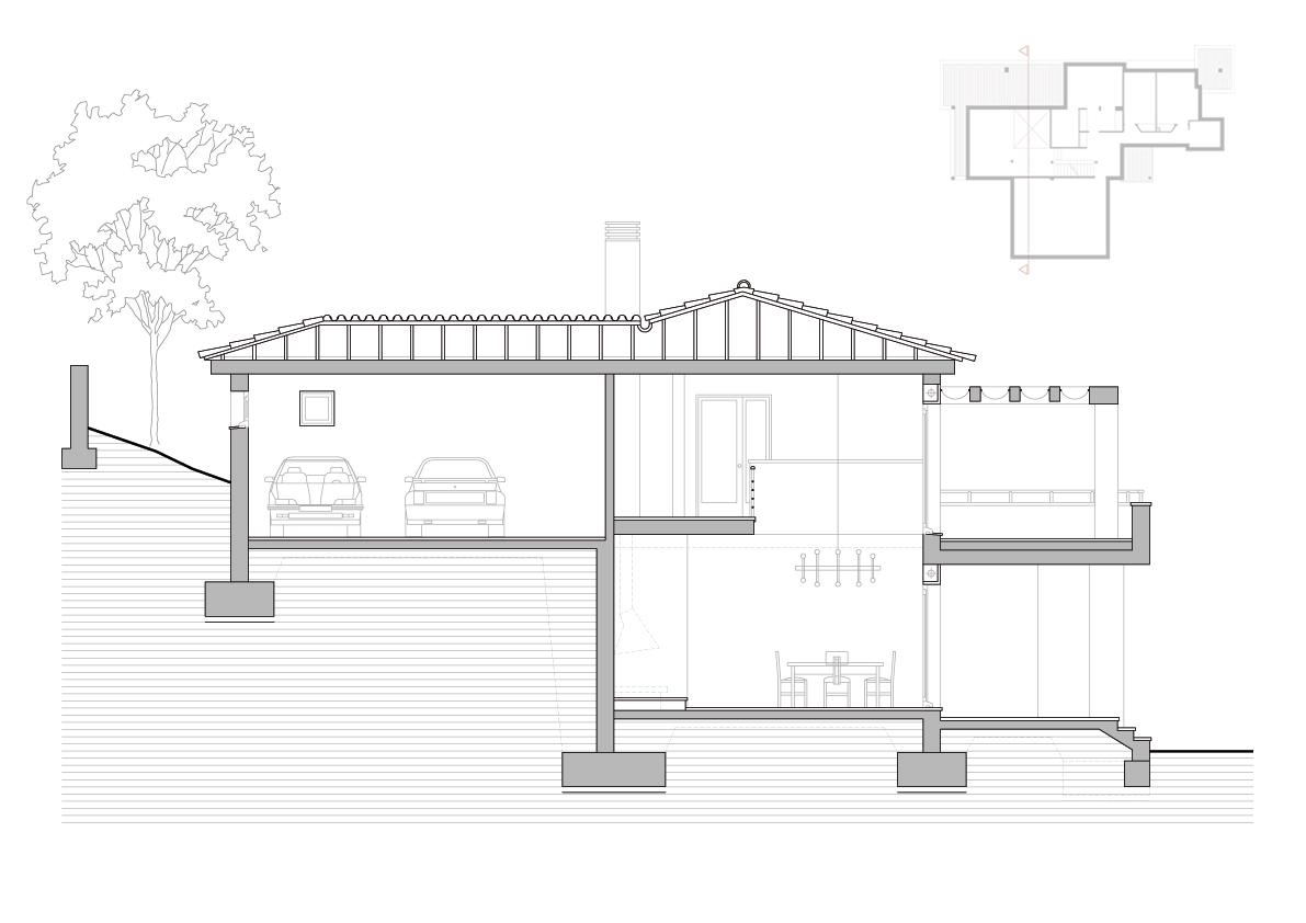 Secció transversal. Projecte d'obra nova: 1993 - Habitatge unifamiliar aïllat a Matadepera