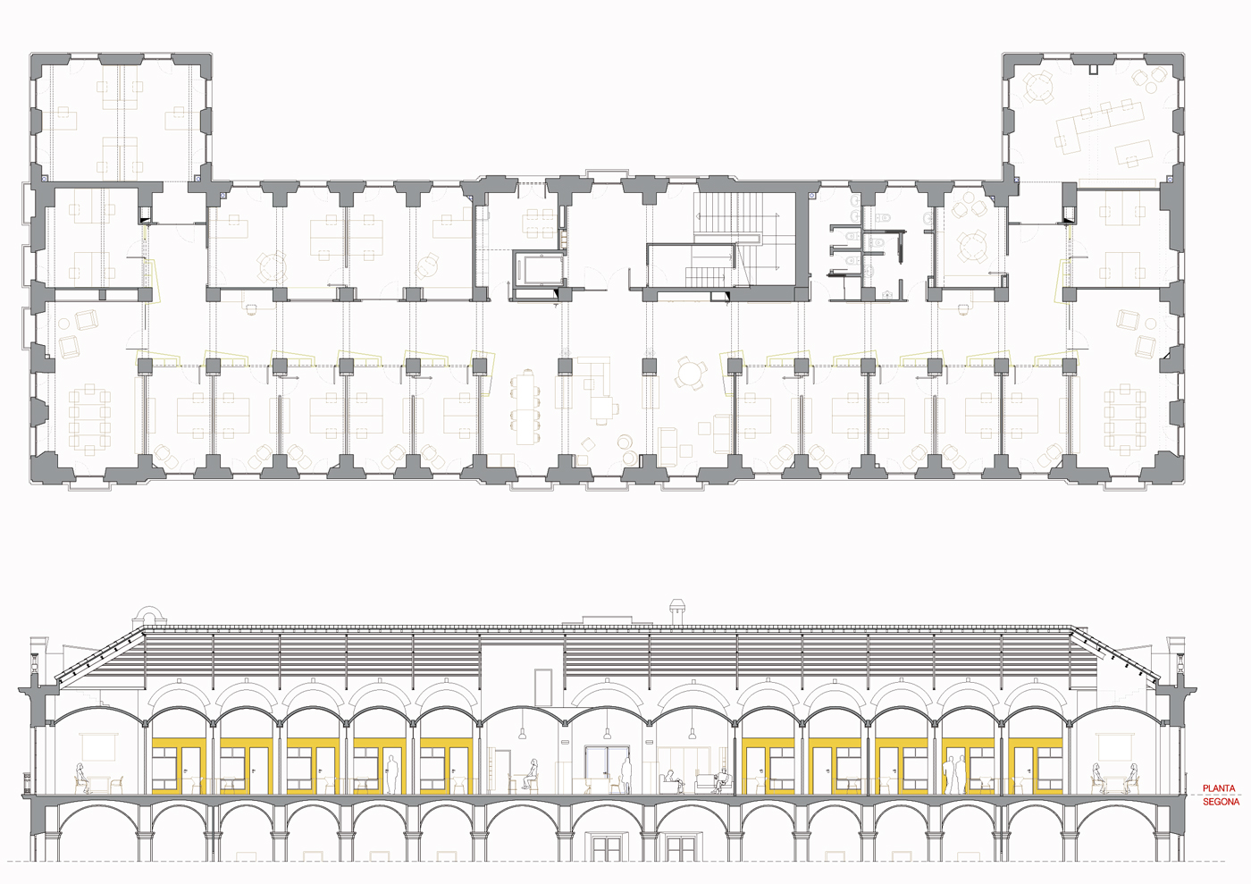 Planta proposta. Projecte de reforma i disseny 3D: 2013 - Formació d'un Viver d'empreses a la planta segona de l'Edifici Xifré d'Arenys de Mar