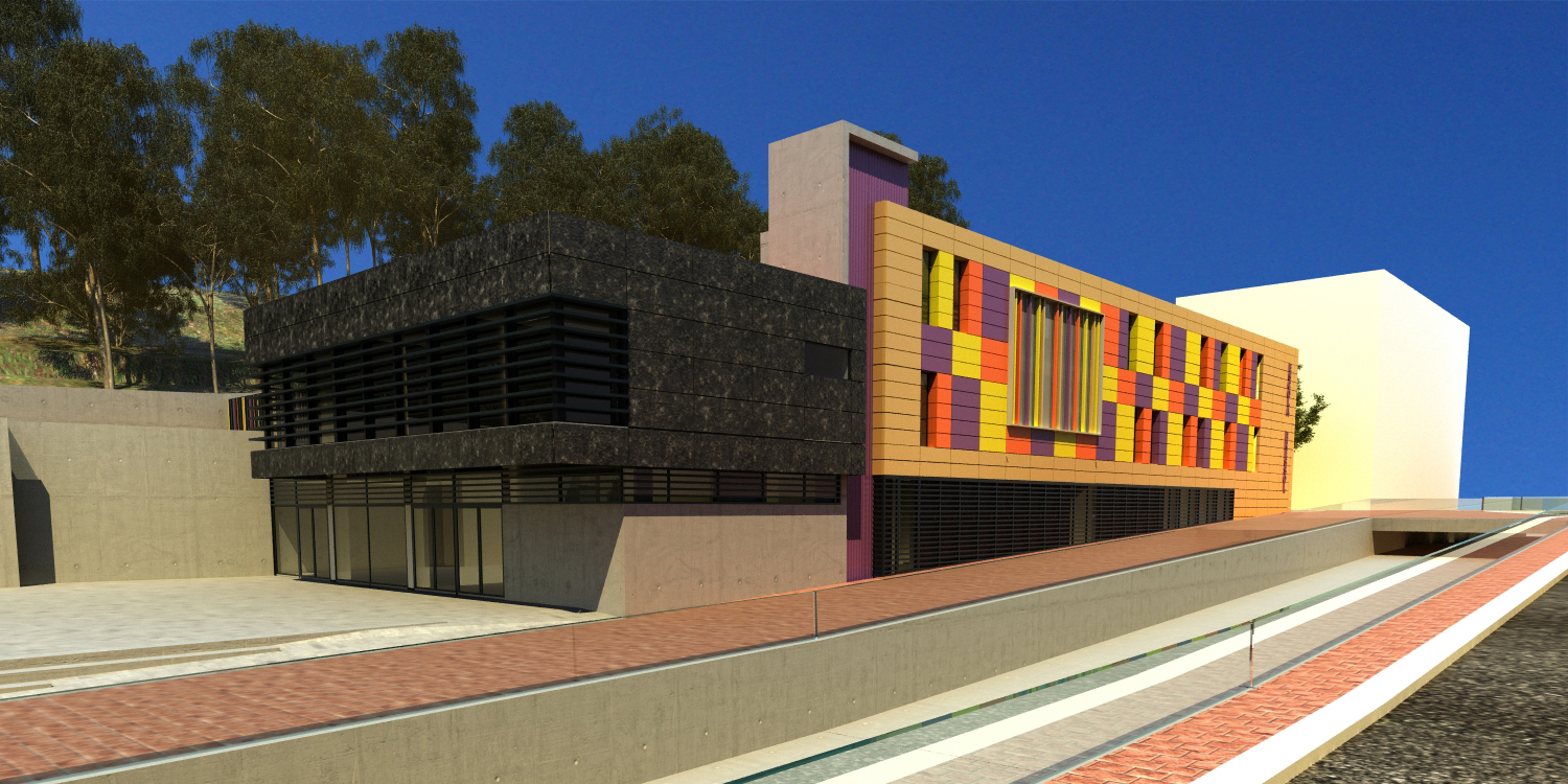 Disseny 3D façana principal. Projecte d'obra nova: 2009 Escola Bressol