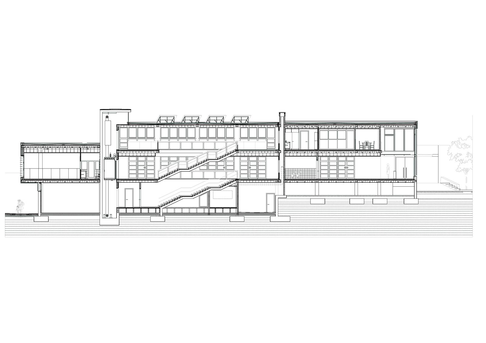 Secció longitudinal. Projecte d'obra nova: 2009 Escola Bressol