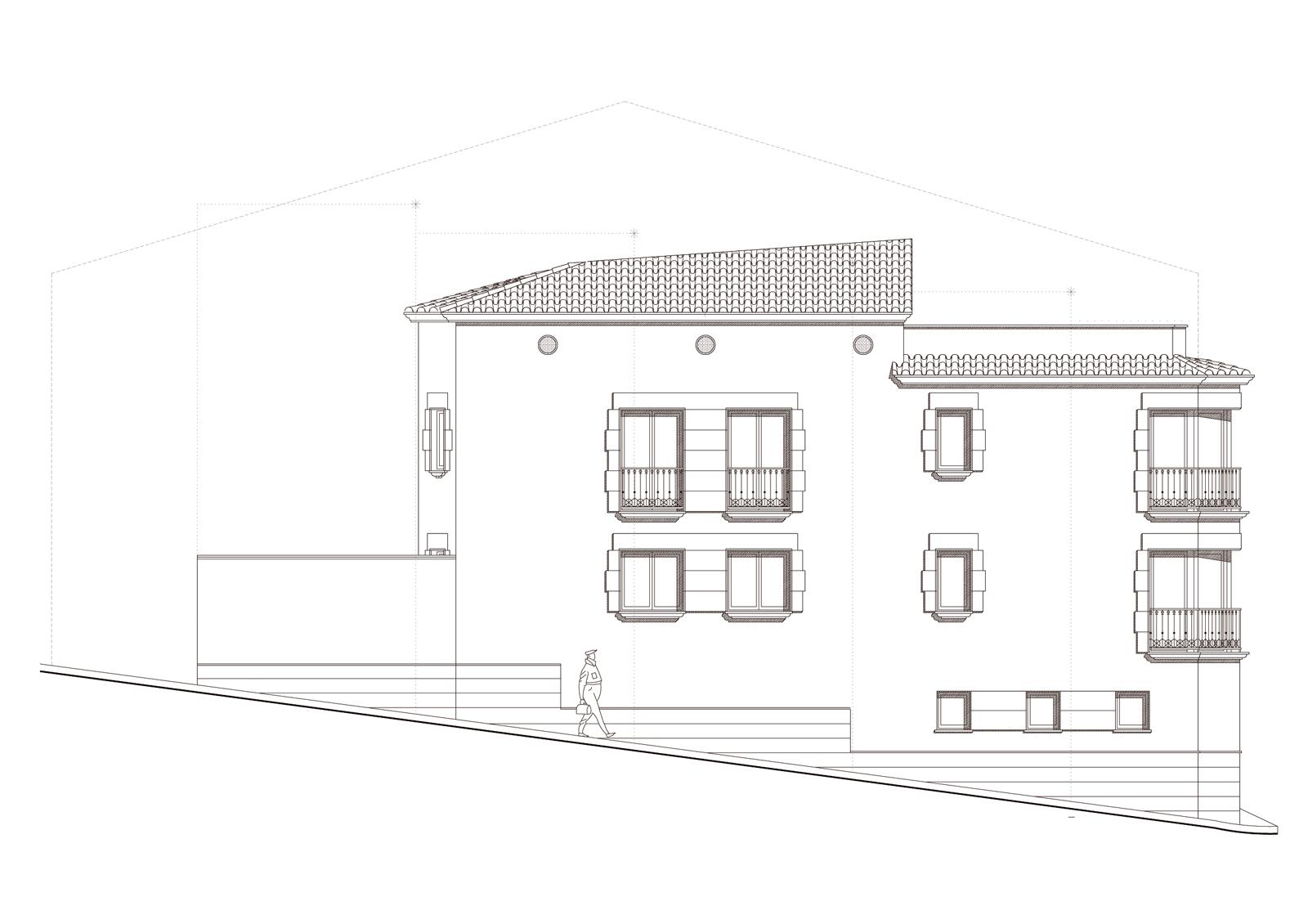 Alçat. Projecte d'obra nova: 1998 Habitatge unifamiliar cantonada