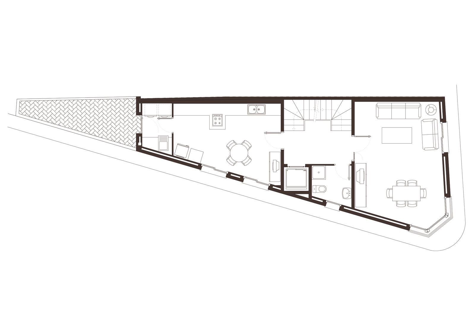Planta primera. Projecte d'obra nova: 1998 Habitatge unifamiliar cantonada