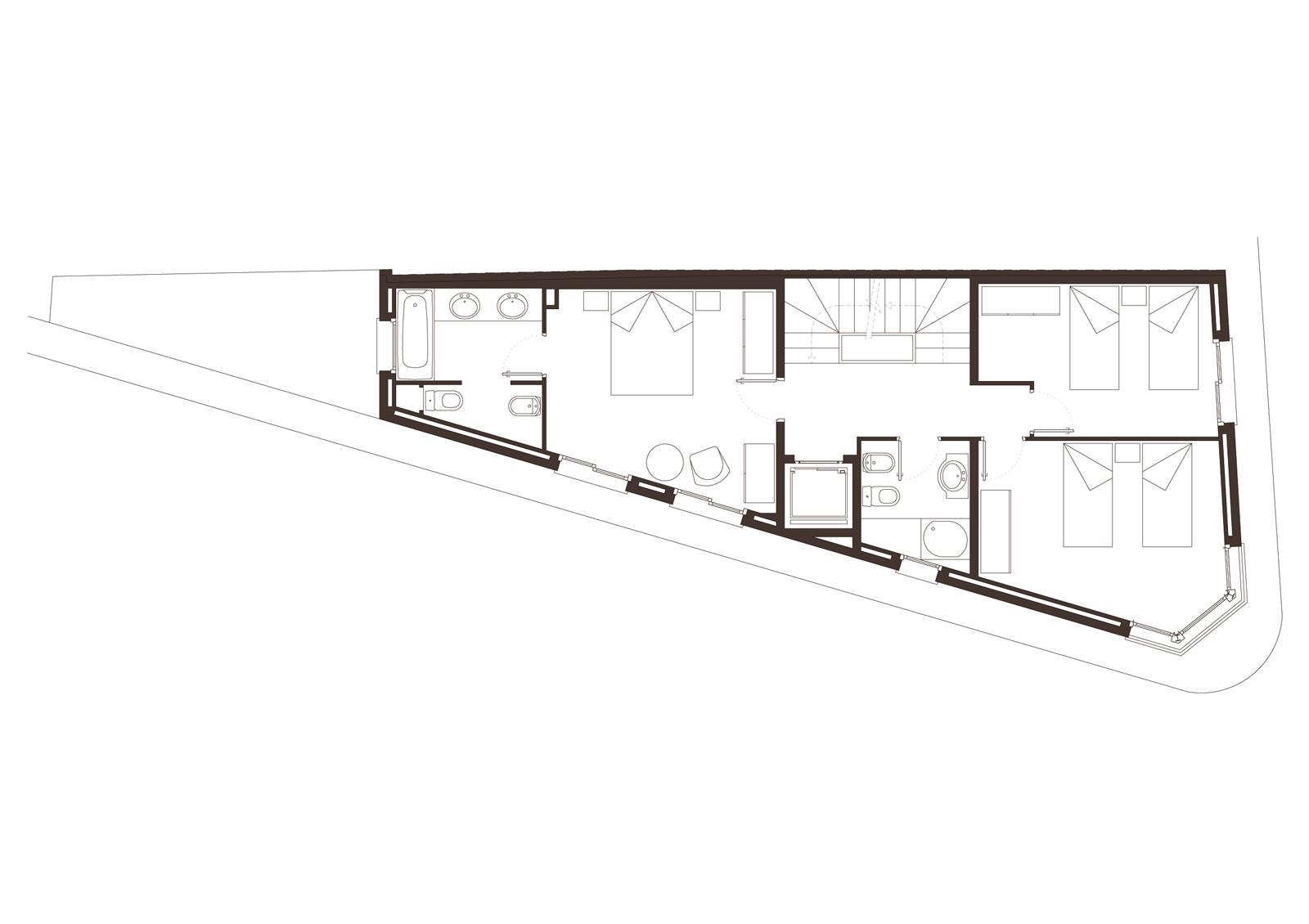 Planta segona. Projecte d'obra nova: 1998 Habitatge unifamiliar cantonada