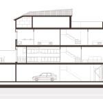 Secció longitudinal. Projecte d'obra nova: 1998 Habitatge unifamiliar cantonada