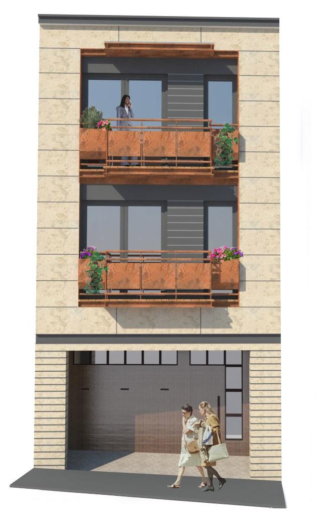 Façana 3D. Projecte d'obra nova: 1998 Habitatge unifamiliar entre mitgeres