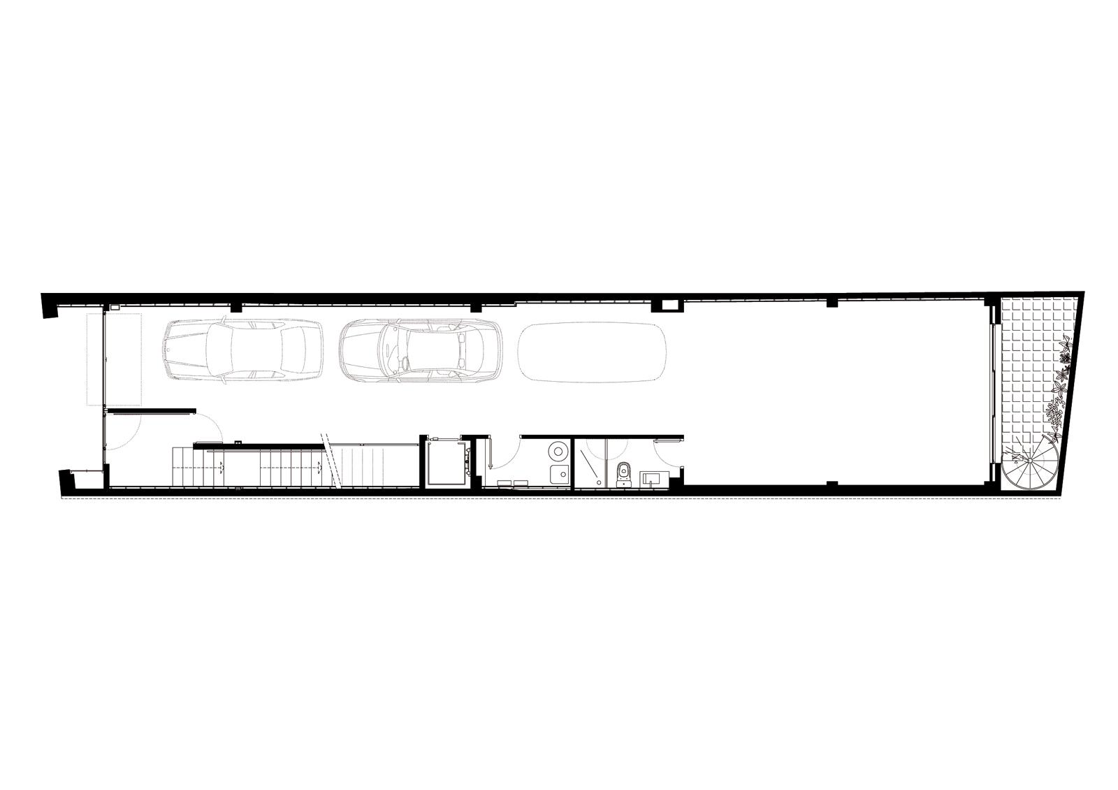Planta baixa. Projecte d'obra nova: 1998 Habitatge unifamiliar entre mitgeres