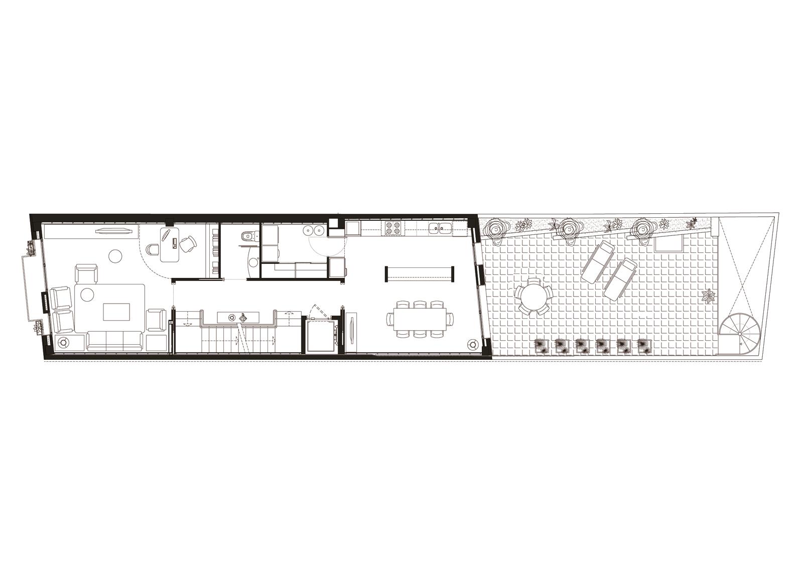 Planta primera. Projecte d'obra nova: 1998 Habitatge unifamiliar entre mitgeres