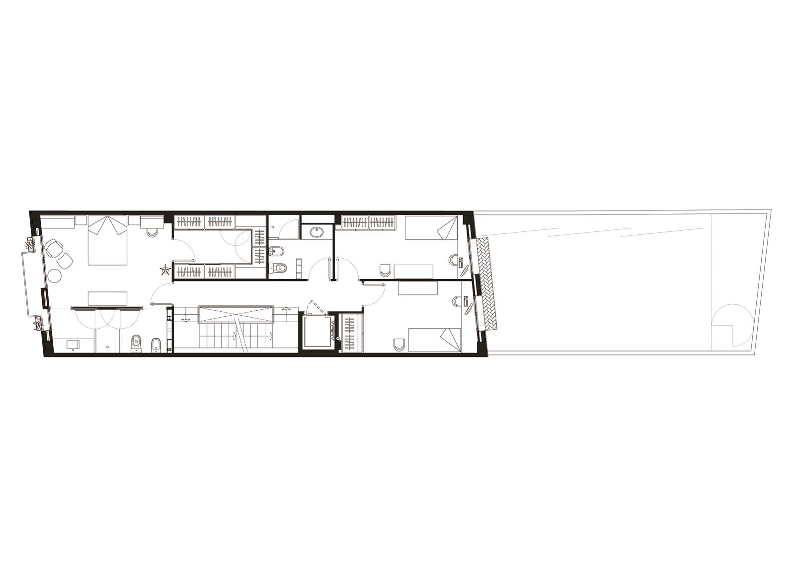 Planta segona. Projecte d'obra nova: 1998 Habitatge unifamiliar entre mitgeres