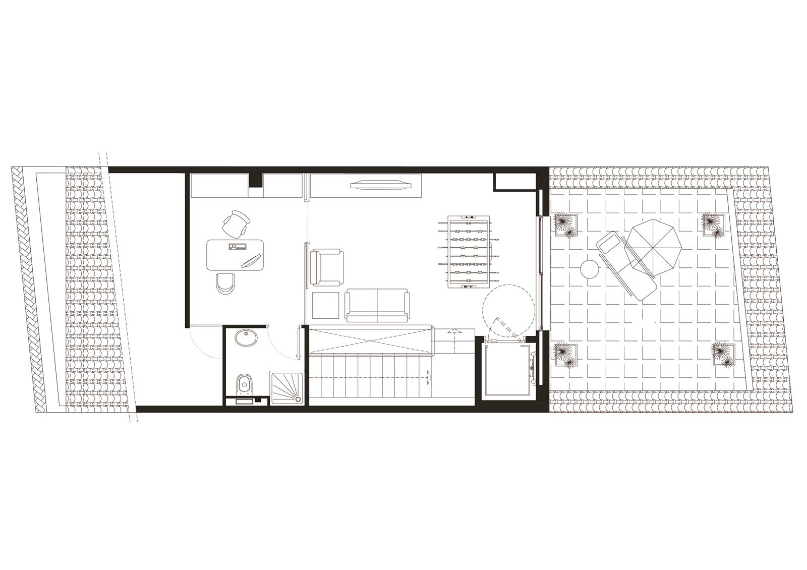 Planta sotacoberta. Projecte d'obra nova: 1998 Habitatge unifamiliar entre mitgeres
