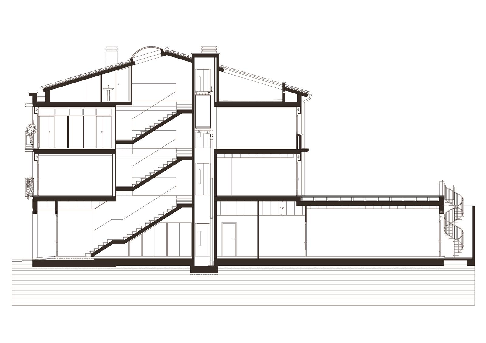 Secció. Projecte d'obra nova: 1998 Habitatge unifamiliar entre mitgeres