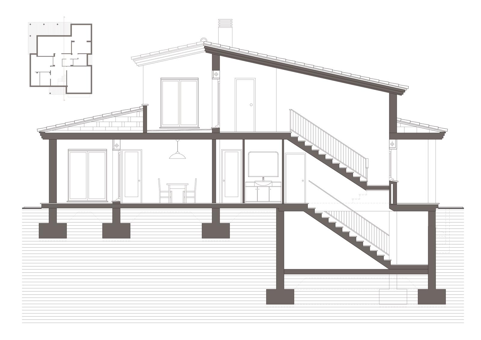 Secció. Projecte d'obra nova: 1998 Habitatge unifamiliar aïllat
