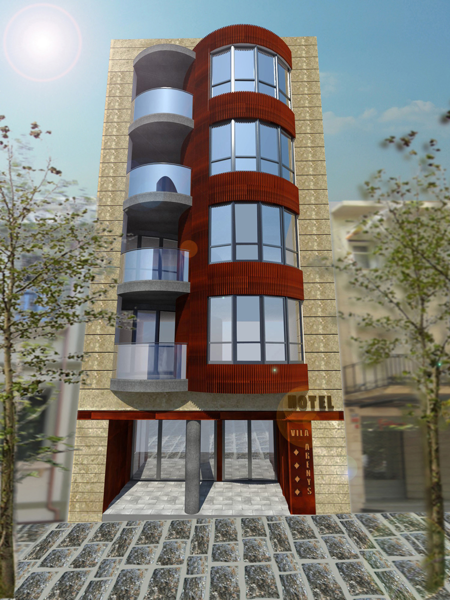 Disseny 3D façana. Projecte d'obra nova: 2015 Hotel de 4* entre mitgeres