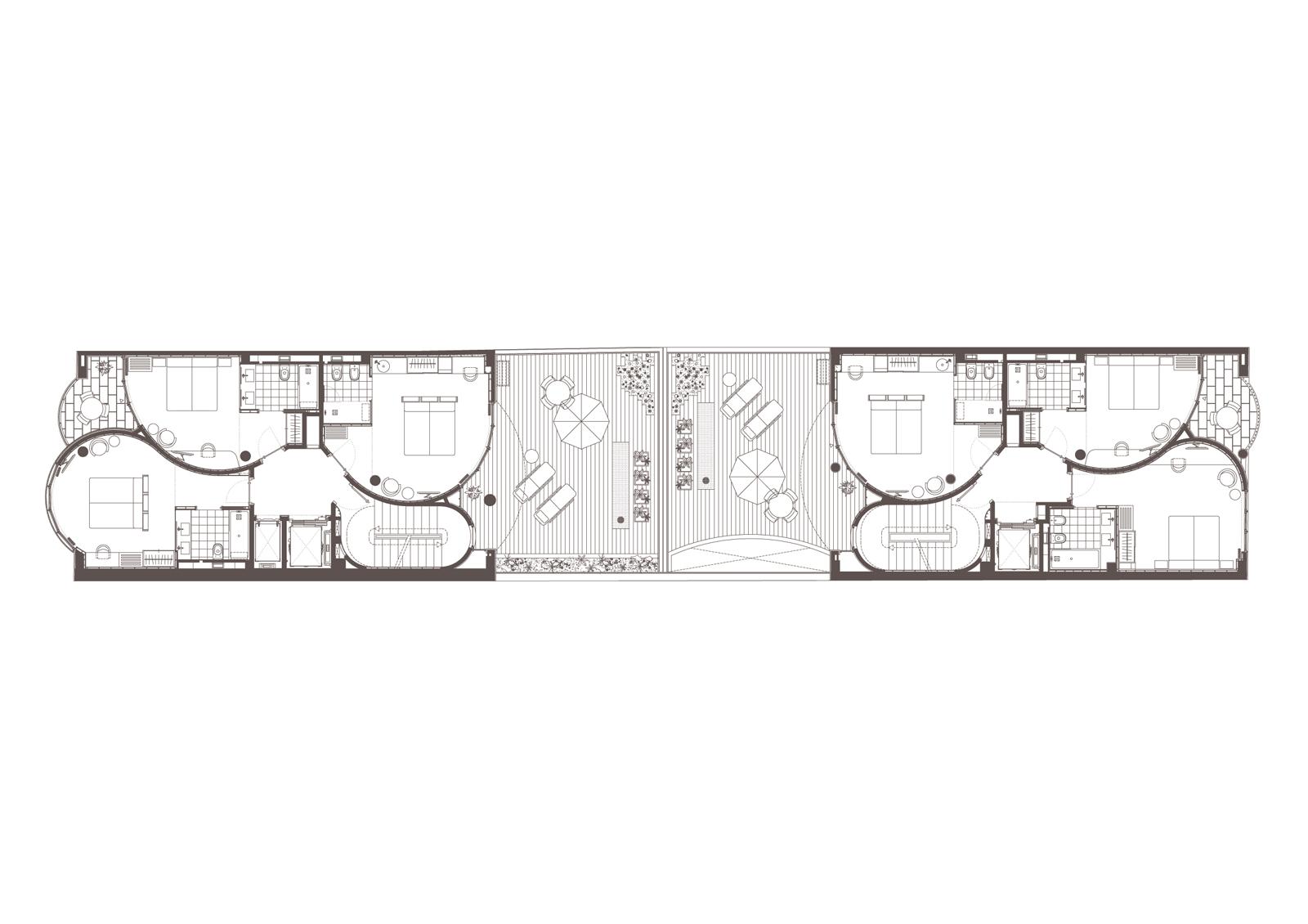 Planta 1. Projecte d'obra nova: 2015 Hotel de 4* entre mitgeres