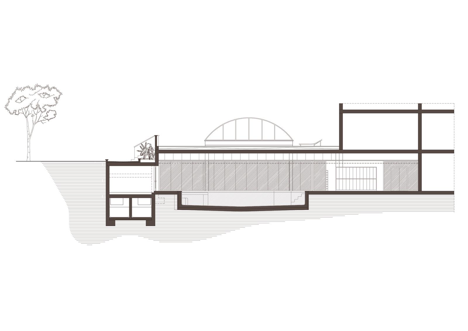 Secció transversal. Projecte de reforma i ampliació: 2016 - Formació de piscina i spa en reforma i ampliació Hotel Port Salou